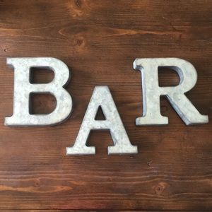 """BAR"" Galvanized Letters Rustic Wedding/Home Decor"